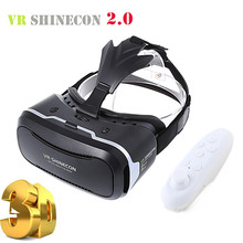 New VR Shinecon 2.0 II Helmet Cardboard Virtual Reality Glasses Mobile Phone 3D Video Movie for 4.7-6.0″ Smartphone with Gamepad
