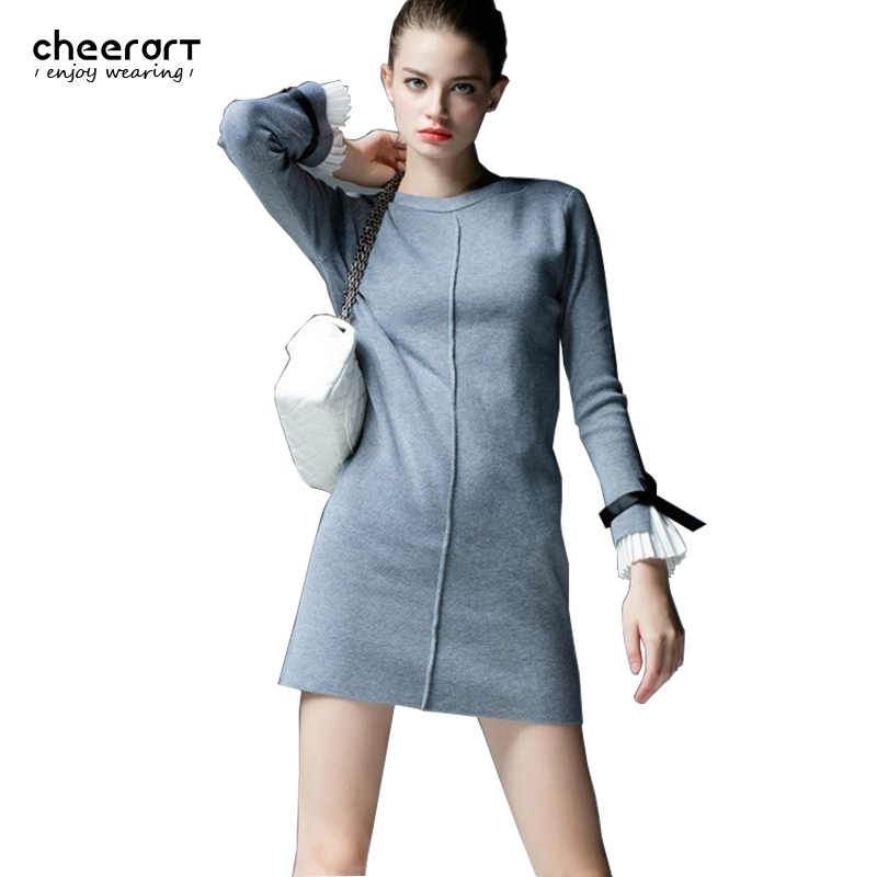 Womens Sweaters And Pullovers Fashion 2016 Spring Flare Sleeve Cashmere Winter Knitted Sweater Dress Pull Femme Clothing