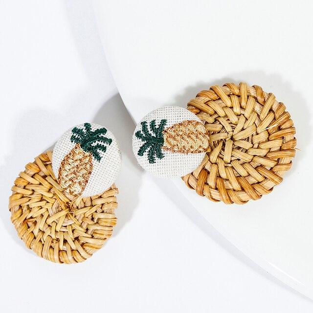 AENSOA Multiple 27 Style Korea Handmade Wooden Straw Weave Rattan Vine Braid Drop Earrings New Fashion Geometric Long Earrings 3
