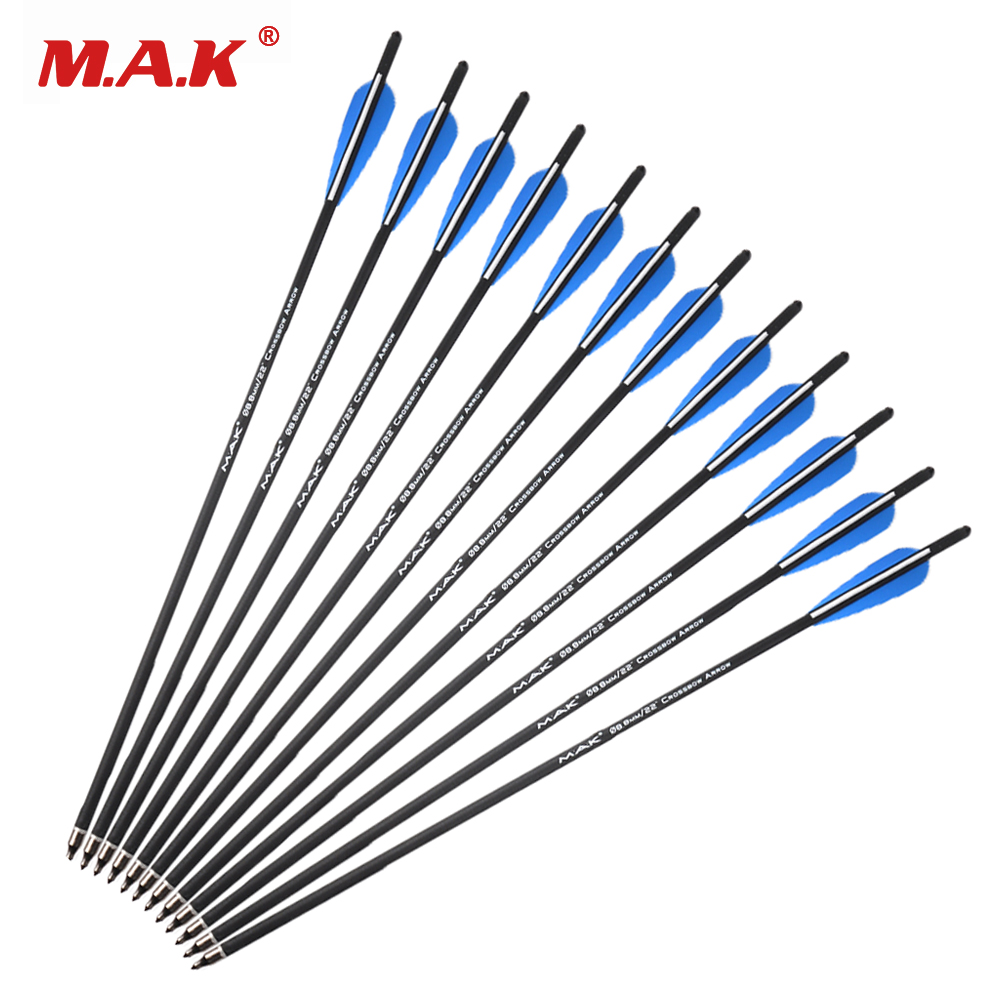 6/12/24/36 Pcs Mix Carbon Crossbow Arrow 17/20/22 Inches OD 8.8mm With 125 Grain Arrow Point For Archery Hunting Shooting