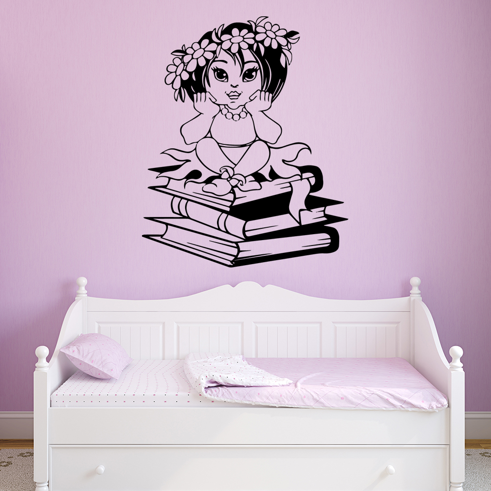 Exquisite a girl on books Home Decor Modern Acrylic Decoration For Kids Rooms Sticker Mural Decal Stickers muursticker in Wall Stickers from Home Garden
