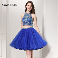 Sexy Two Pieces Royal Blue Short Homecoming Dresses 2016 New Fashion Sheer Crystal Beaded Party Gowns