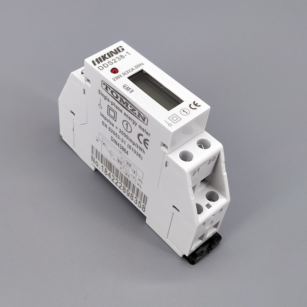 5 (32) 230 V 50Hz monofásico carril de Din de KWH vatios hora carril din medidor de energía LCD