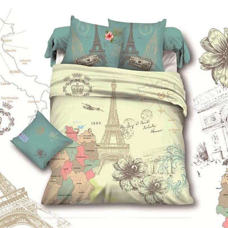 France Retro Style Paris Eiffel Tower Queen Size Bedding Set ...