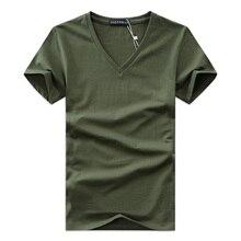 Лето,, Мужская футболка с v-образным вырезом, хлопковые топы с коротким рукавом, высокое качество, повседневные мужские облегающие классические брендовые футболки