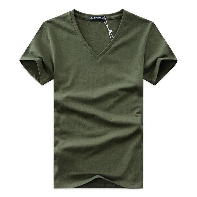 2017 verão Quente vender Homens V pescoço t camisa de algodão curta tops de manga Casuais de alta qualidade Dos Homens Slim Fit Clássico Marca t camisas