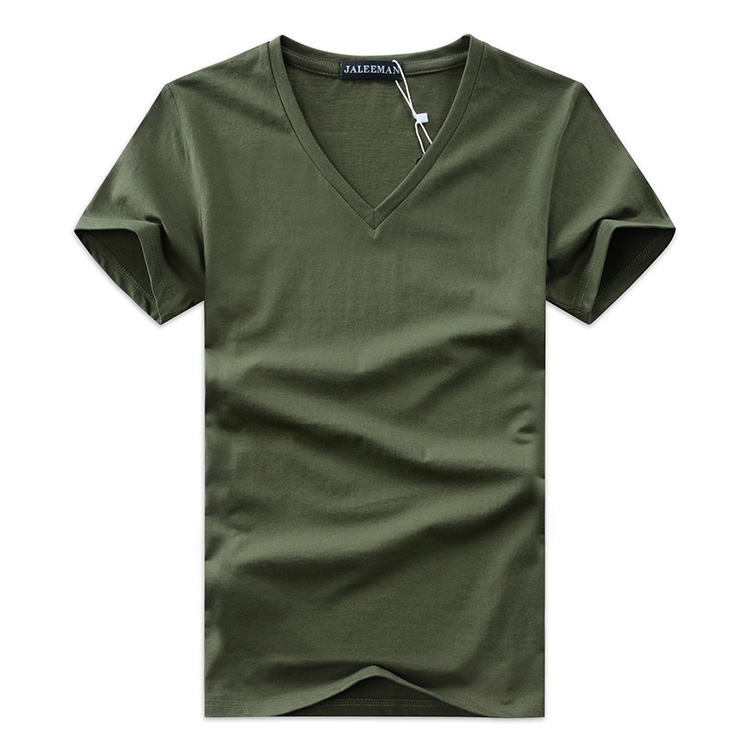 2020 Summer Hot Selling Men V Neck T Shirt Cotton Short Sleeve Tops High Quality Casual Men Slim Fit Classic Brand T Shirts