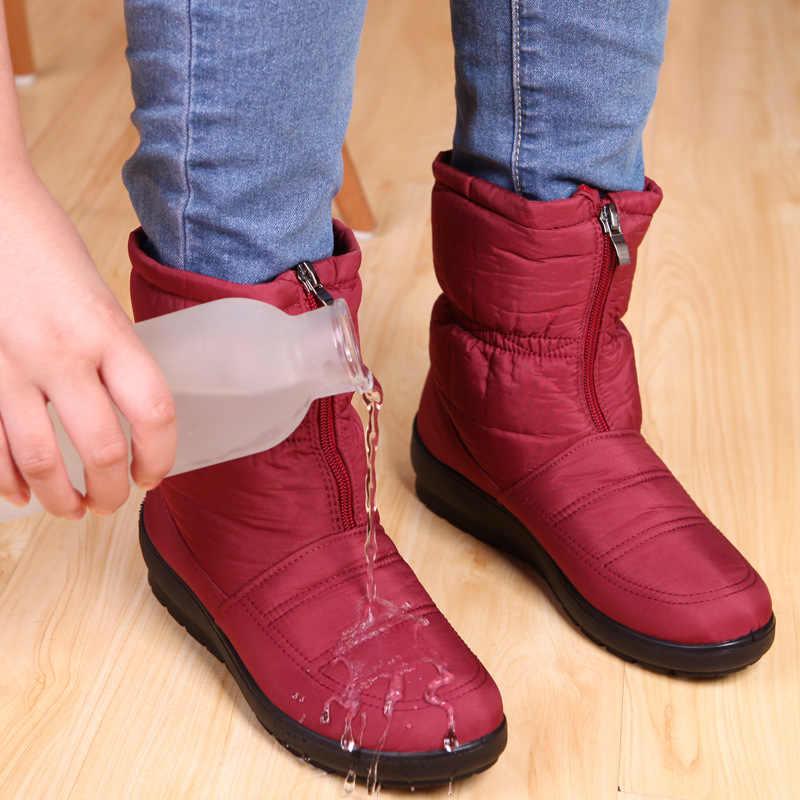 Fermuar orta buzağı çizmeler kadın kış kar botları su geçirmez kış ayakkabı kadınlar üzerinde kayma kauçuk taban savaş kürk Botas düz mujer Zapatos