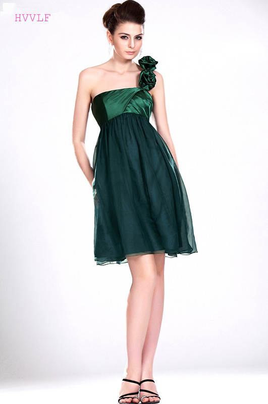 Green 2019 Cheap Bridesmaid Dresses Under 50 A-line One-shoulder Chiffon Flowers Short Mini Wedding Party Dresses