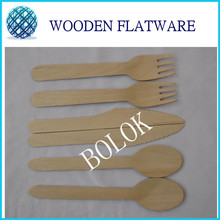 200sets (600pcs)Free Shipping Eco-Friendly Disposable Wooden Cutlery Flatware Sets 100 / Pack 16cm Natural birch wood