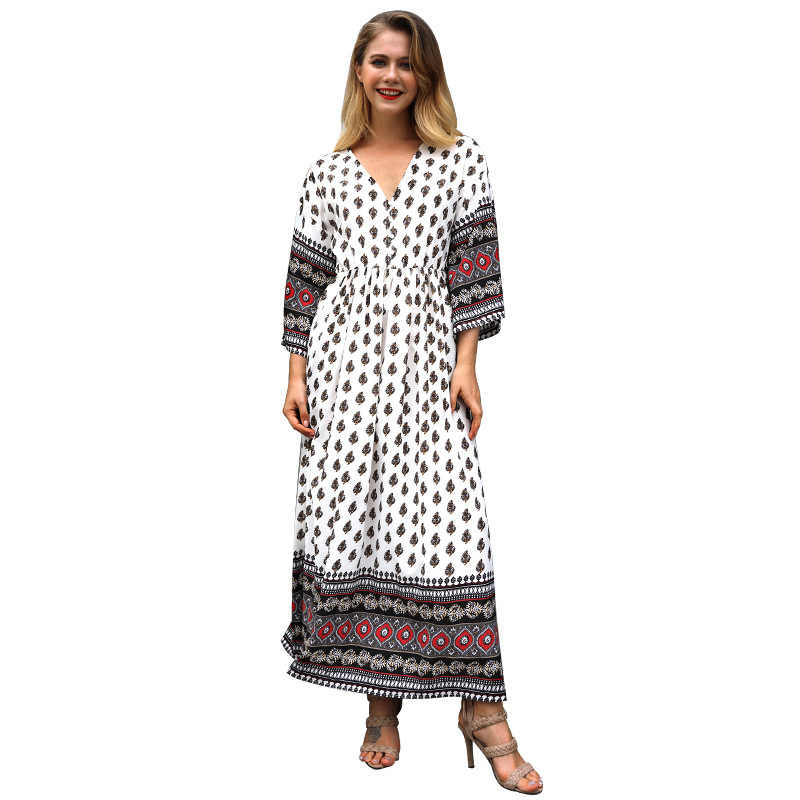 Isiksus 2018 סקסי תחרה עד V-צוואר לבן ארוך שרוול סתיו נשים שמלת וינטג Loose שמלה קיצית חוף Boho לבני מקסי שמלות DR097