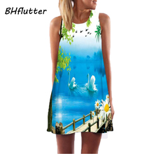 BHflutter Vestidos Women Dress 2017 New Style Chiffon Dress Floral Print Sleeveless Summer Dress Brief Casual Short Dresses
