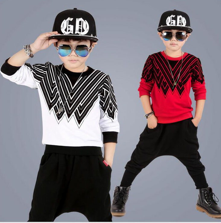 New Boys clothing sets cotton suit childern long-sleeved Hoodie + Haren Pants 2pcs outfits vetement garcon For 4 6 8 10 12 Years
