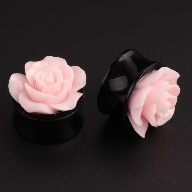 1 Pair Acrylic Pink Rose Flower Ear Plugs