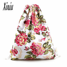 Womens Canvas Backpack Fashion Drawstring Backpack de moda mochila  Teenage School Bag High Quality Backpacks bag package Sacos