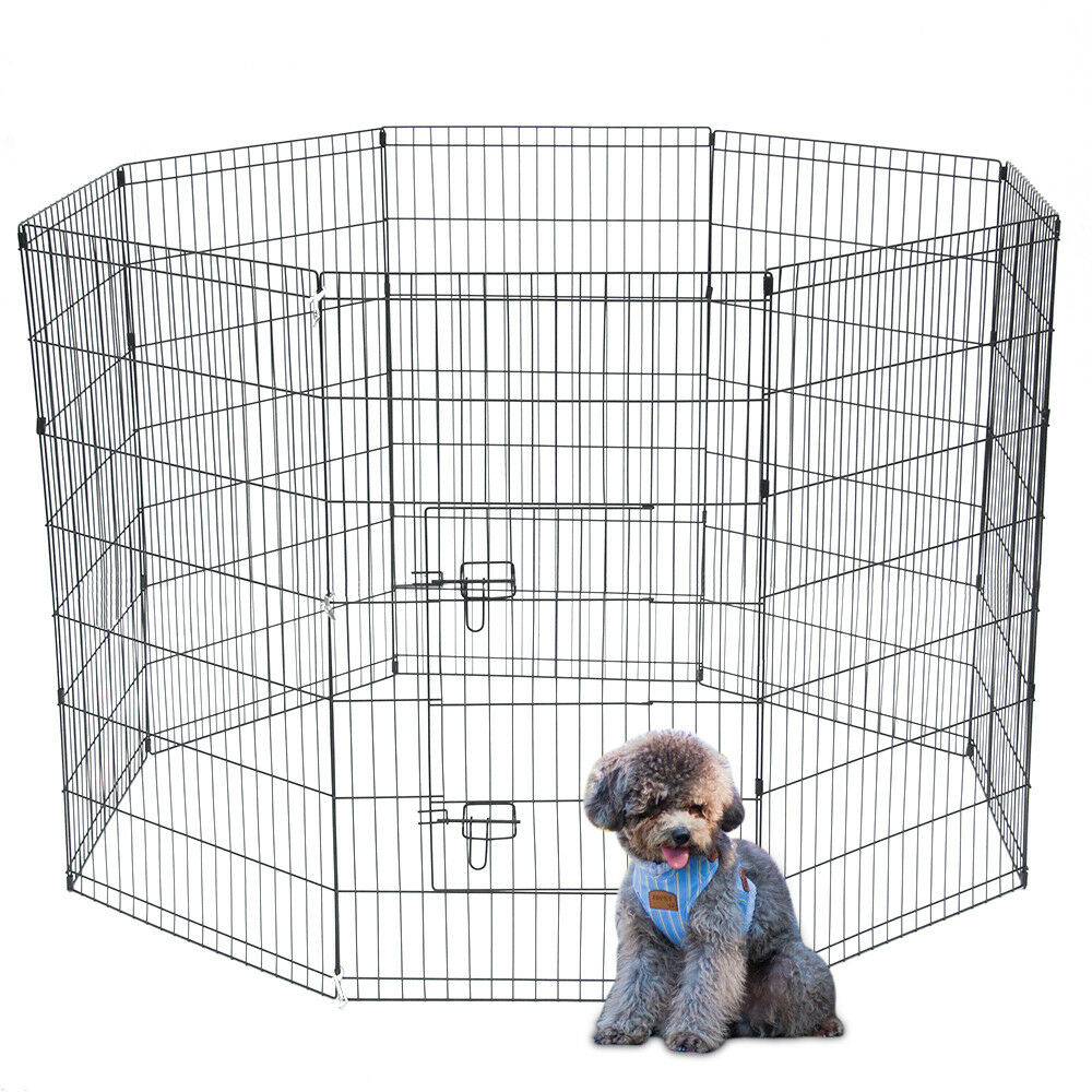 """24/""""30/""""36/""""42/""""48/"""" Tall Wire Fence Dog Cat Folding Exercise Yard Play Pen Black"""