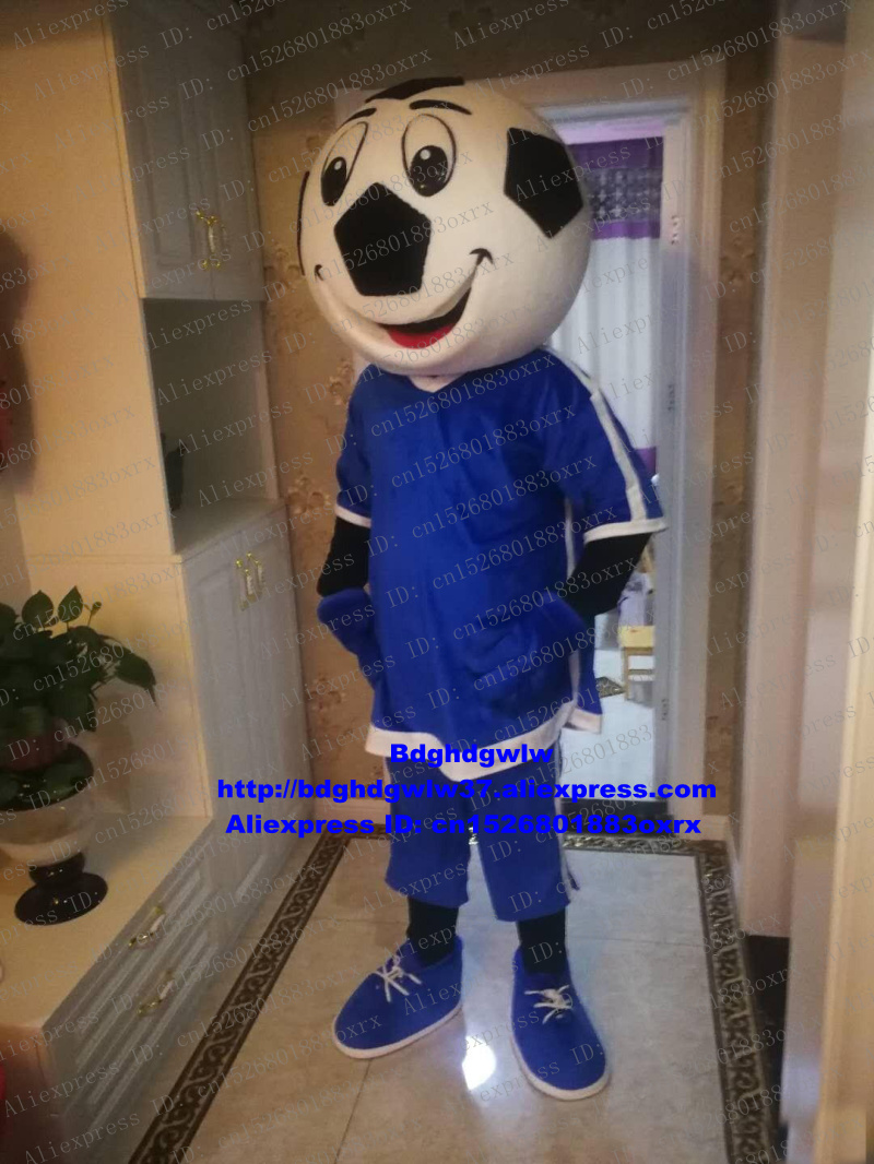 Beautiful Blue Football Soccer Foot Ball Mascot Costume Adult Cartoon Character Advertisement And Publicity All Saints Day Zx1577 Catalogues Will Be Sent Upon Request