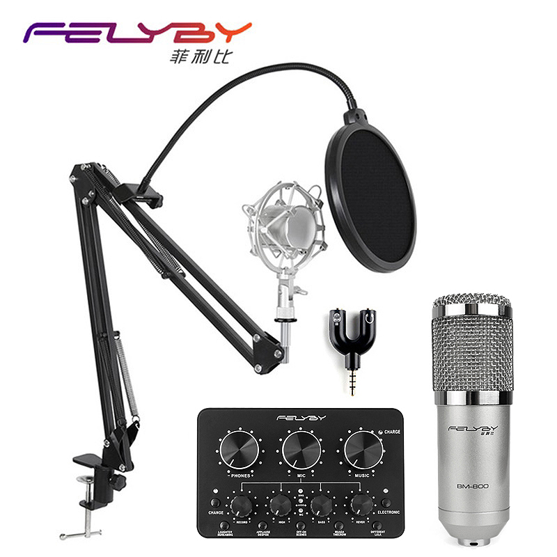 FELYBY Brand Professional bm 800 Condenser Microphone Recording Radio Karaoke Microphone with Multi-function live sound card professional condenser microphone bm 800 bm 800 cardioid pro audio studio vocal recording mic 48v phantom power usb sound card