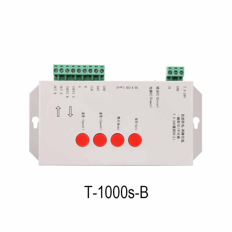 T-1000S программируемый SD card пиксель света контроллер, адресный Мечта Цвет светодиодный регулятор линейного светильника, sk6812, ws2812b, 2813