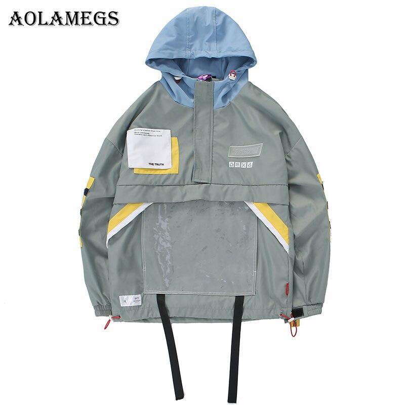 Erkek Kıyafeti'ten Ceketler'de Aolamegs Ceketler Erkekler Çok Cep Bloğu Ceket Eşofman Yüksek Sokak Mont Hip Hop Moda Hip Hop Erkek Streetwear Rüzgar Geçirmez'da  Grup 1