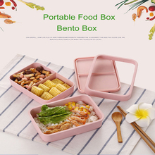 GZZT Bamboo Fiber Portable Lunch Box Fashion Pink Rectangular Sushi Dinner With Lid Leakproof Food Container Tableware