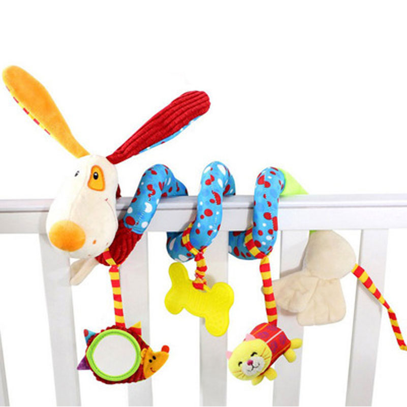 Dog Rattle Bed Stroller Plush Cartoon Rattles Hanging Toys For Newborns Crib Dolls Educational Toys For Baby Brinquedos Bebes