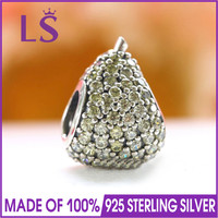 LS Authentic 925 Sterling Silver Pear Charm with Light Green Crystal Fit Original Charms Bracelet Silver Jewelry For Women Gifts