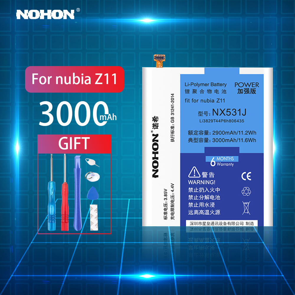 Original NOHON Battery For Nubia Z11 3000mAh Replacement Battery Polymer Lithium Li-ion Mobile Phone Bateria For Nubia BataryaOriginal NOHON Battery For Nubia Z11 3000mAh Replacement Battery Polymer Lithium Li-ion Mobile Phone Bateria For Nubia Batarya