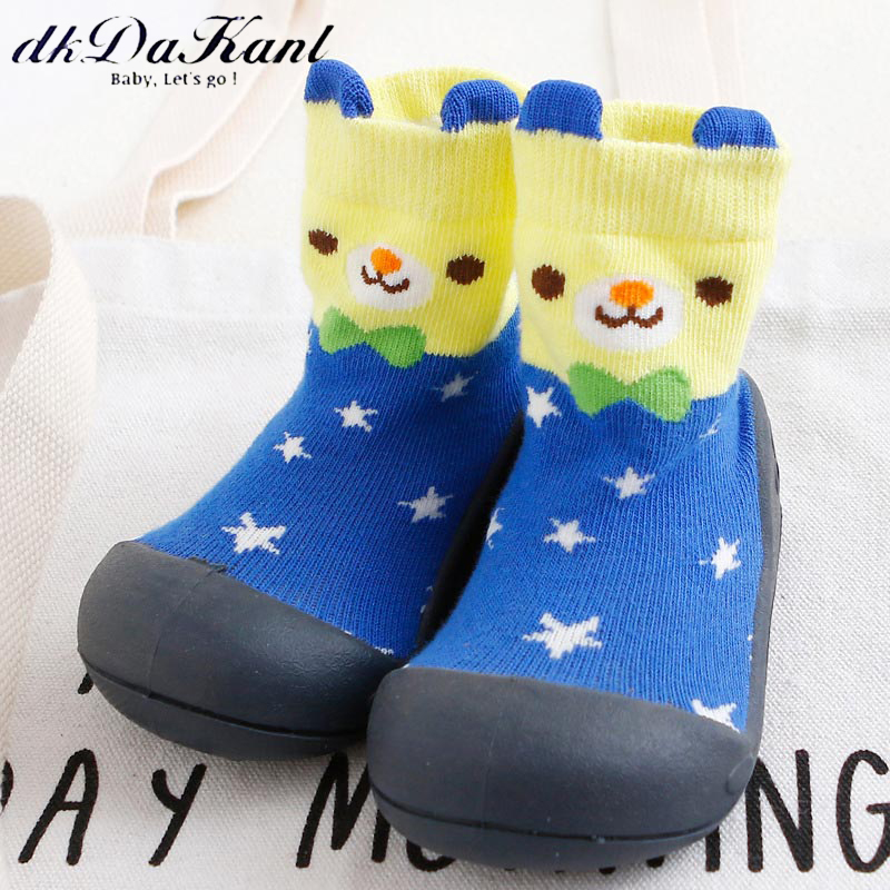 dkDaKanl Baby Stereo Cartoon Anti Slip Socks Shoes Kindergarten 3D Cute Bear Rubber Sole Baby First Walker Toddler Shoes