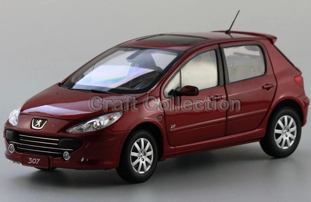 * Red 1/18 Peugeot 307 Hatchback de Simulación de Fundición Modelo de Coche Mini Vehículo de Colección Diecast Coches de Slot