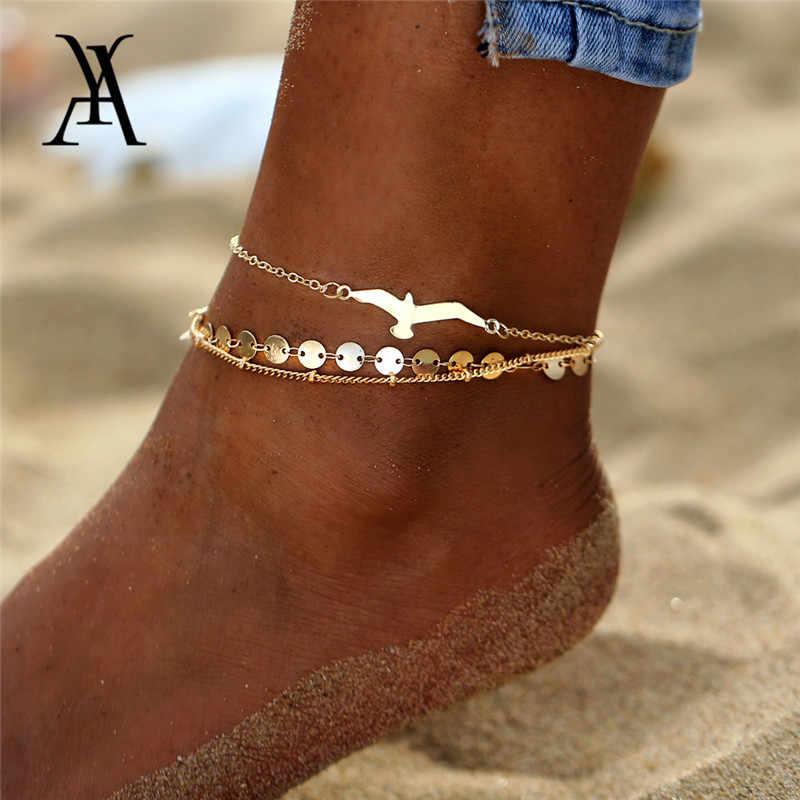 3 adet/grup Bohemian Kartal Sequins Halhal Kadınlar Için Moda Altın Renk Bilezik Halhal Bacak üzerinde Plaj Ayak Aksesuarları Toptan