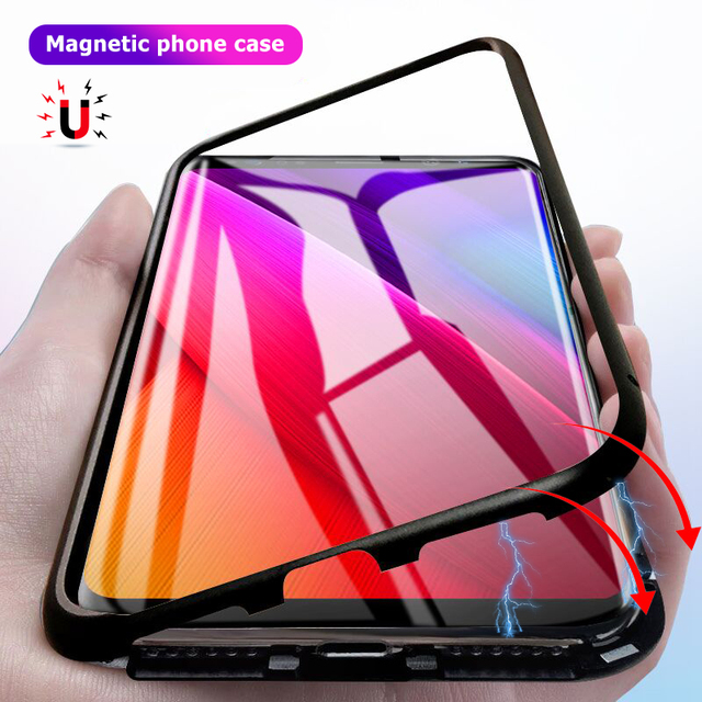 low priced a0178 d7cee US $4.64 30% OFF|Super Magnetic Phone Case For Samsung Galaxy S8 S9 Plus  Note 8 Tempered Glass Full Cover Luxury Metal Bumper Coque -in Fitted Cases  ...