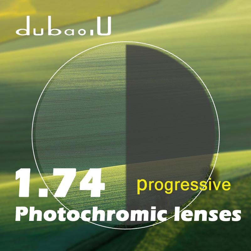 9832e522b Índice de 1.74 Lentes Fotocromáticas Progressiva Forma Livre Cinza marrom  Óculos De Sol de Lentes Para Óculos de grau Duro Anti Arranhão