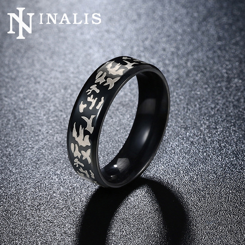 inalis mens fashion military band rings high quality 6mm black gun plated titanium steel jewelry engraved - Military Wedding Rings