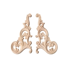 1 Pair Wood Carved Corner Onlay Applique Frame Decor Furniture Unpainted Home