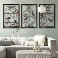 Bird Flower Iron Cage Wall Hanging Mural Home Furnishing Crafts Decor 3D Stereo Office House Background Wall Sticker Decor R1200