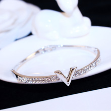 SUPIN V Letter Design Best Zircon Rose Gold And White Simple Jewelry Bracelets & Bangle For Women And Girls