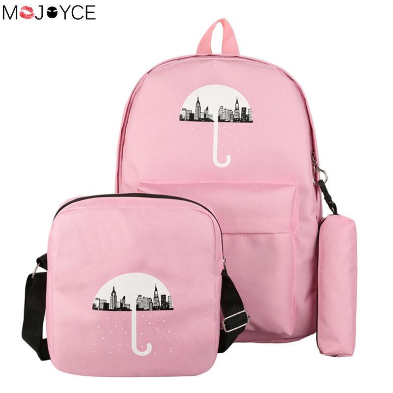 Umbrella Printing school bags for teenage girls canvas backpack girls 3pcs/set Knapsacks for teens pencil holder student bookbag