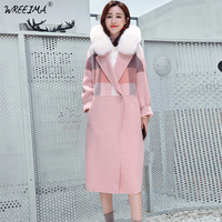 wreeima 2018 women coat Plaid winter warm outwear casual mid long coat Pink Single Button loose plus size 2XL wool long coat