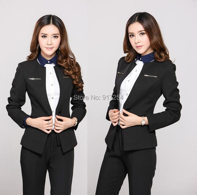 Nova chegada 2015 outono inverno moda Slim calças de manga longa ternos para senhora do escritório estilo uniforme desgaste do trabalho conjunto de roupas roupa