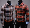 2014 New Brand Hot Spring 2 Color Casual Plaid Mens Shirts Fashion Long sleeve Slim Fit Clothes for Man Free Shipping M-XXL