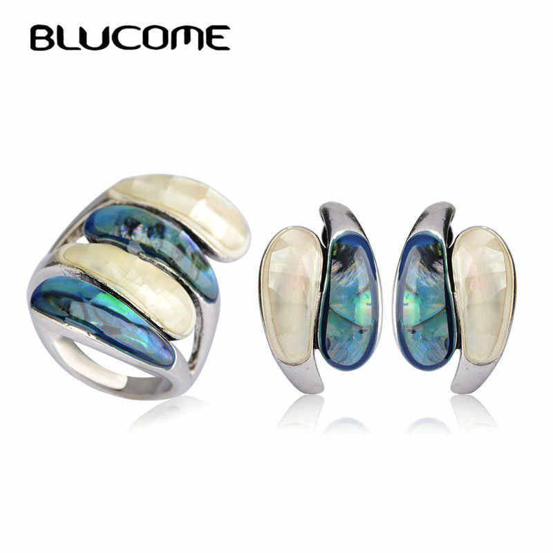 Blucome Vintage Abalone Shell Stud Earrings Ring Sets Party Engagement Women Lady Jewelry Set Antique Silver Color Wide Rings