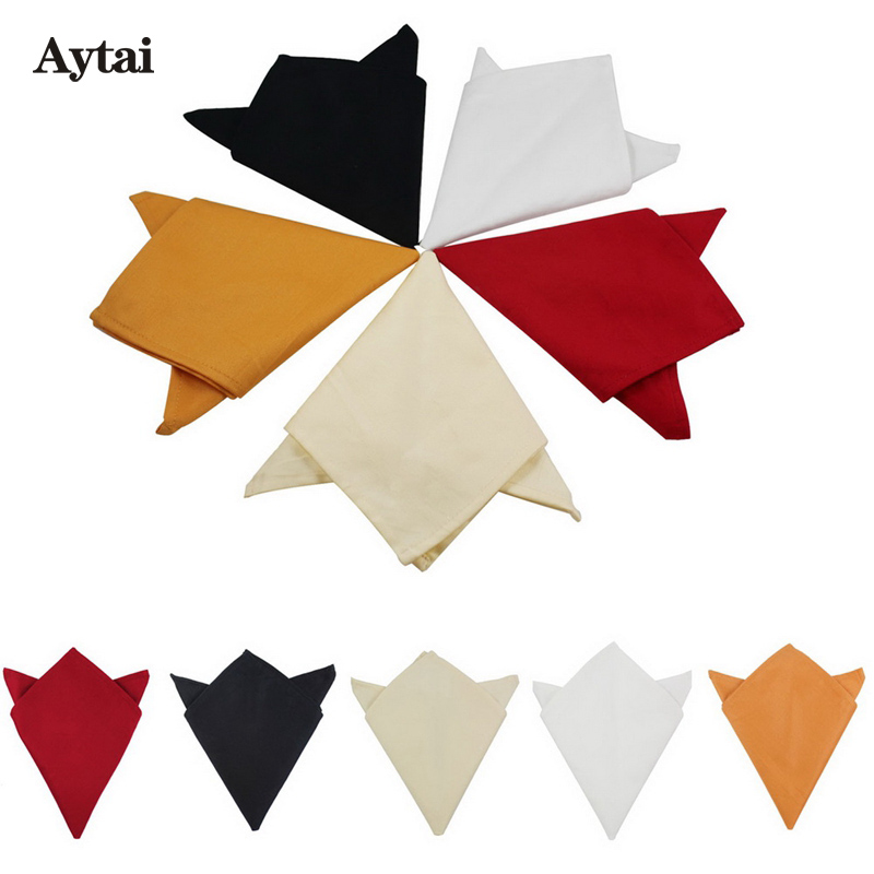 Aytai 50pcs Square Cotton Table Napkins for Wedding Decoration 5 Colors 30x30cm Handkerchief Dinner Event Party Supplies