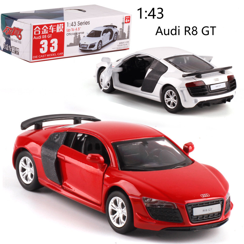 CAIPO 1:38 Audi R8 Alloy Pull-back Vehicle Model Diecast Metal Model Car For Boy Toy Collection Friend Children Gift