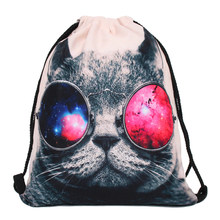 67163cb3e Galaxy Gafas de sol gato 3D impresión mochila mujer bolsa moda bolsa de  viaje mochila femenina mochilas bb159