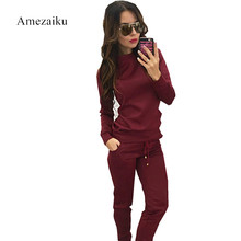 Red Two Pieces New Women Slim Tracksuit Hoodies Long Sleeve Pullover Sweatshirt High Waist Lace-up Causal Solid Pants Sets Suit