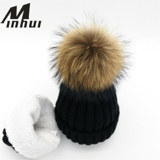 Minhui New Women Casual Beanies Real Mink Fur Pompom Hat Thinkening Knitted Bonnet Skullies Touca Gorro Pom Poms Hats Female Cap