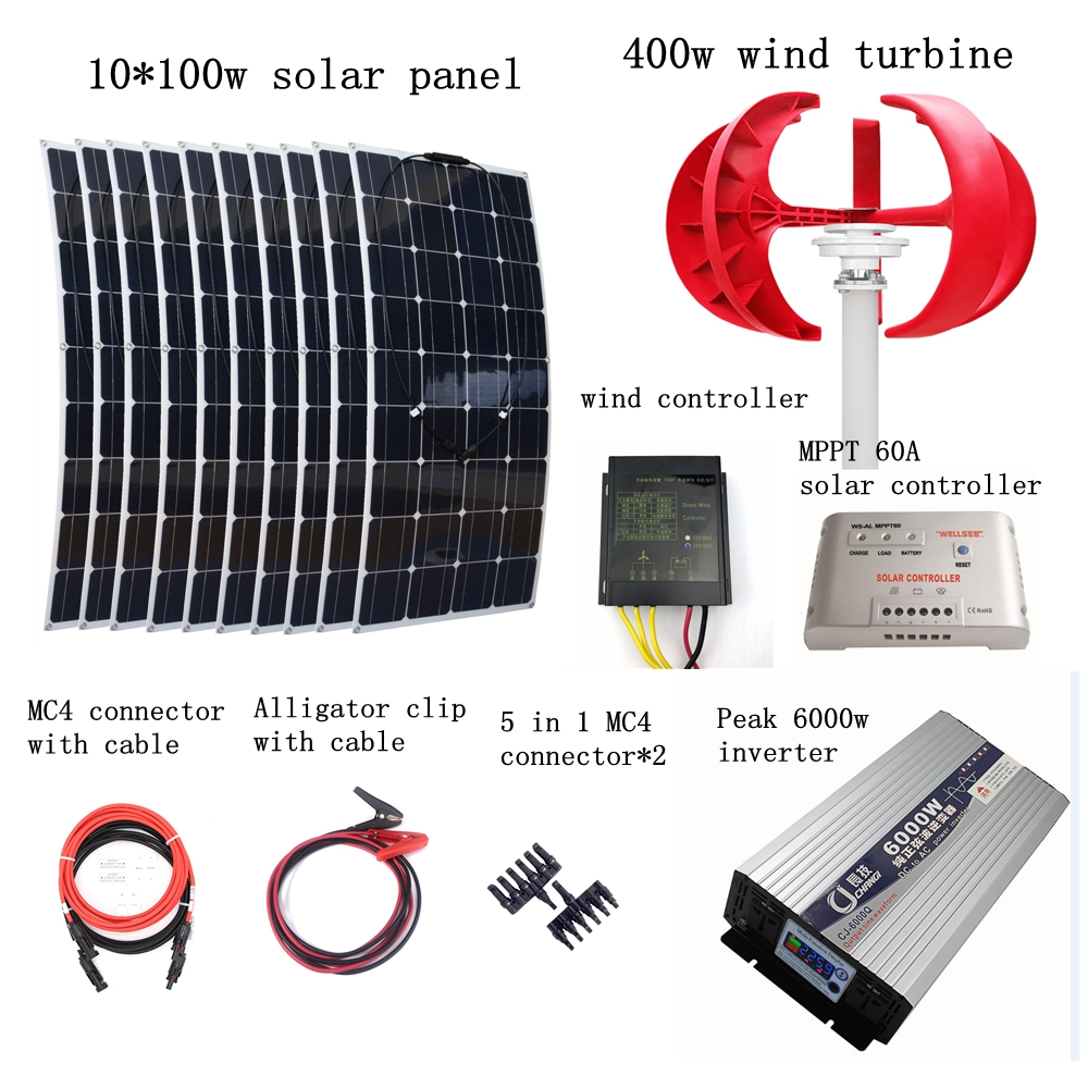 10pcs 100W Flexible Solar Modules+400W Vertical Wind Generator with 6000W Inverter and Controllers 1400W Wind Solar Power System pm200dha060 1 pm150dha060 steam pm100dha060 100% pim iq modules