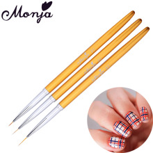 3 Size Nail Art Metal Liner Painting Brush Set Gel Polish Tips Flower Grid Stripe Wide Lines 3D DIY French Image Drawing Pen Kit