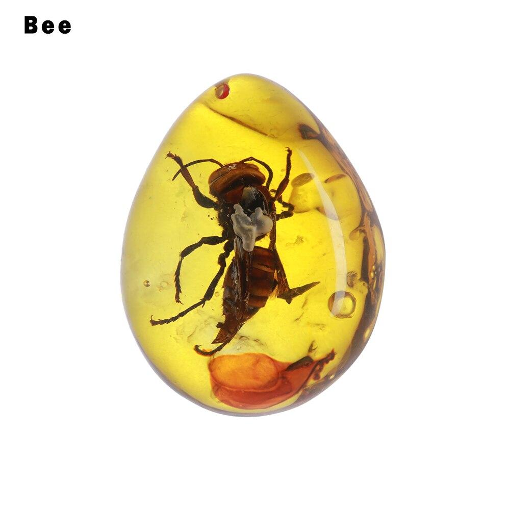 1 шт. модные натуральные насекомые Янтарный каменный орнамент оригинальность скорпионы бабочка пчела краб украшения DIY ремесла кулон подарок - Цвет: bee